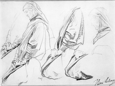 Henri Lehmann (French, 1814-1882). Studies of Kneeling Figure Turned Left for Church of Sainte-Clothilde (Étude de personnage agenouillé tourné vers la gauche), 1854-1859. Pencil and conté crayon on laid paper, Sheet: 11 3/4 x 9 in. (29.8 x 22.9 cm). Brooklyn Museum, Purchased with funds given by Stephen Katz and Alfred T. White Fund, 87.164