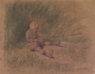 Jules Bastien-Lepage (French, 1848-1884). Girl Seated in the Grass (Petite fille assise), n.d. Graphite and oil crayon on wove paper, Sheet: 11 7/8 x 15 3/8 in. (30.2 x 39.1 cm). Brooklyn Museum, Alfred T. White Fund, 87.167