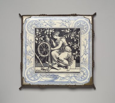 International Tile Company. Tile in Trivet Frame, ca. 1885. Glazed earthenware, silver-plate and other metals, 1 x 6 x 6 in. (2.5 x 15.2 x 15.2 cm). Brooklyn Museum, H. Randolph Lever Fund , 87.178. Creative Commons-BY