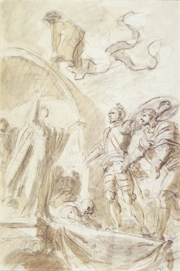 "Jean-Honoré Fragonard (French, 1732-1806). Illustration for Ariosto's ""Orlando Furioso"": Orlando Returns Bireno to Olimpia, 1780-1789. Black conté crayon and wash on laid paper, Sheet: 15 3/4 x 10 5/8 in. (40 x 27 cm). Brooklyn Museum, Purchased with funds given by Karen B. Cohen, 87.210.2"