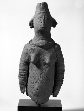 Female Figure, c.14th - 16th century. Terra cotta, 13 5/8 x 5 1/2 x 4 in. (34.6 x 14 x 10.2 cm). Brooklyn Museum, Gift of Dr. and Mrs. Eugene Becker, 87.214. Creative Commons-BY