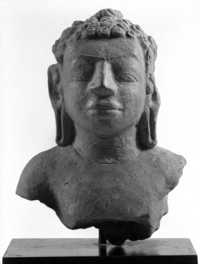 Head and Upper Torso of a Buddha, Dvaravati Style, 8th-9th century. Terra cotta, 7 1/2 x 5 1/2 x 3 1/4 in. (19.1 x 14 x 8.3 cm). Brooklyn Museum, Gift of Mr. and Mrs. Robert L. Poster, 87.234.2. Creative Commons-BY
