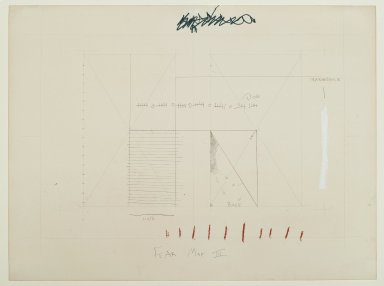 "Pat Steir (American, born 1940). ""Fear Map III,"" 1971. Graphite, colored pencils, and pastel on paper, 15 1/16 x 20 1/16 in. (38.3 x 51 cm). Brooklyn Museum, Gift of Dr. Barry and Shea Gordon Festoff, 87.243.3. © Pat Steir"