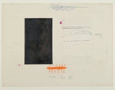 "Pat Steir (American, born 1940). ""Fear Map IV,"" 1971. Graphite, gouache, colored pencils, and red and pink ink on paper, 15 1/16 x 20 1/16 in. (38.3 x 51 cm). Brooklyn Museum, Gift of Dr. Barry and Shea Gordon Festoff, 87.243.4. © Pat Steir"