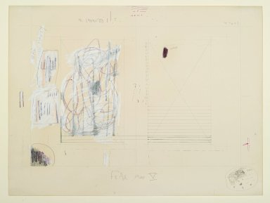"""Pat Steir (American, born 1940). """"Fear Map V,"""" 1971. Graphite, colored pencils, pastel, watercolor, and pink and black ink on paper, 15 1/16 x 20 3/16 in. (38.3 x 51.2 cm). Brooklyn Museum, Gift of Dr. Barry and Shea Gordon Festoff, 87.243.5. © Pat Steir"""