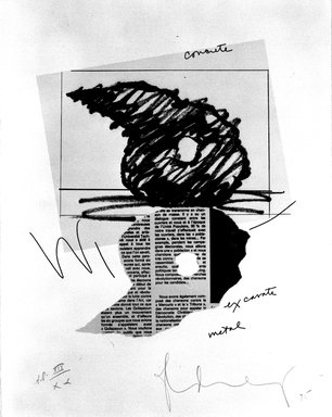 Claes Oldenburg (American, born Sweden 1929). Study for a Sculpture in the Form of an Inverted Q: Above and Below Ground, 1975. Etching and soft -ground etching, lithograph and offset, on paper, sheet: 14 x 11 in. (35.6 x 27.9 cm). Brooklyn Museum, Gift of Susan Lorence, 87.42. © Claes Oldenburg