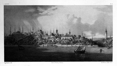 """Eugène Flandin (French, 1809-1876). Plate from """"L'Orient,"""" n.d. Lithograph with chine colle, Image: 6 1/16 x 11 1/2 in. (15.4 x 29.2 cm). Brooklyn Museum, Gift of Dr. Bertram H. Schaffner, 87.45.3"""
