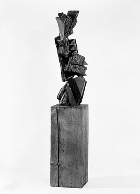 Mel Kendrick (American, born 1949). Black Walnut with Bark, 1986. Black walnut, 41 1/2 x 16 x 12 1/2 in. (105.4 x 40.6 x 31.8 cm). Brooklyn Museum, Purchased with funds given by Harry Kahn, 87.92a-b. © Mel Kendrick