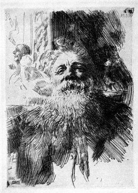 Anders Zorn (Swedish, 1860-1920). Auguste Rodin, 1906. Etching on laid paper, Image: 8 3/8 x 6 1/8 in. (21.2 x 15.5 cm). Brooklyn Museum, Gift of the Iris and B. Gerald Cantor Foundation, 87.94.1