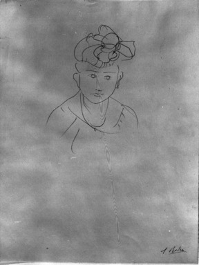 Auguste Rodin (French, 1840-1917). Head of Jean Simpson (Tête de Jean Simpson), 1903. Pencil on wove paper, 12 15/16 x 9 13/16 in. (32.9 x 24.9 cm). Brooklyn Museum, Gift of the Iris and B. Gerald Cantor Foundation, 87.94.3
