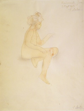 Auguste Rodin (French, 1840-1917). Miss Jean Simpson, Seated (Mlle Jean Simpson, assise), 1903. Pencil and watercolor on wove paper, 12 13/16 x 9 7/8 in. (32.5 x 25.1 cm). Brooklyn Museum, Gift of the Iris and B. Gerald Cantor Foundation, 87.94.4