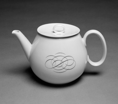 Raymond Loewy (American, born France, 1893-1986). Teapot with Lid, ca. 1953. Porcelain, 5 1/2 x 9 x 3 1/4 in. (14 x 22.9 x 8.3 cm). Brooklyn Museum, Gift of Mrs. William Liberman, 88.108a-b. Creative Commons-BY