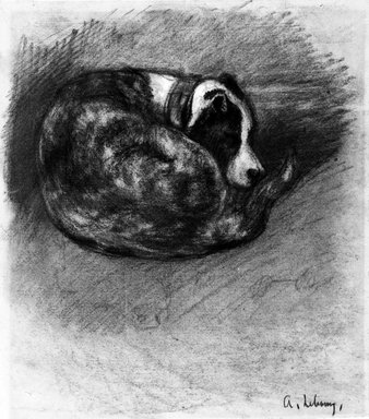 Charles-Albert Lebourg (French, 1849-1928). Sleeping Dog (Chien endormi), ca. 1870. Charcoal and white chalk on laid paper, 10 1/8 x 9 in. (25.7 x 22.9 cm). Brooklyn Museum, Purchased with funds given by Karen B. Cohen, 88.139
