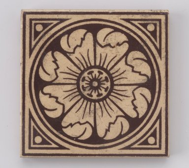 International Tile Company. Tile, 1882-1888. Earthenware, 1/2 x 4 1/4 x 4 1/4 in. (1.3 x 10.8 x 10.8 cm). Brooklyn Museum, Gift of Dr. Barry R. Harwood, 88.18. Creative Commons-BY