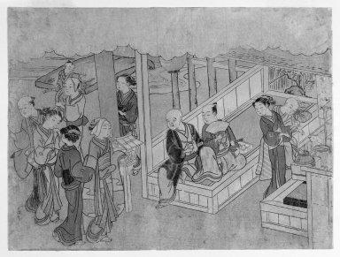 Suzuki Harunobu (Japanese, 1724-1770). The Meeting Together (Miai), from The Marriage Ceremonies, ca. 1768. Woodblock print, 8 1/4 x 11 in. (21.0 x 28.0 cm). Brooklyn Museum, Gift of Mr. and Mrs. Herbert Libertson, 88.196