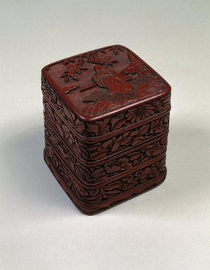 Four-Tiered Box, 16th century. Carved lacquer, 4 3/4 x 3 5/8 in. (12.1 x 9.2 cm). Brooklyn Museum, Gift of Mr. and Mrs. John R. Menke, 88.198a-d. Creative Commons-BY