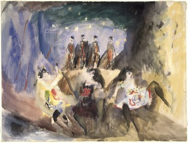 Max Weber (American, born Russia, 1881-1961). Study for Russian Ballet, 1914. Watercolor on laid paper, 18 3/4 x 24 3/4 in. (47.5 x 62.8 cm). Brooklyn Museum, Gift of the Edith and Milton Lowenthal Foundation, 88.205