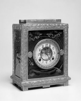 New Haven Clock Company (working ca. 1853-1956). Clock, Albatross, Patented January 5, 1886. Brass and glazed earthenware tiles, 12 1/4 x 9 x 5 1/4 in. (31.1 x 22.9 x 13.3 cm). Brooklyn Museum, H. Randolph Lever Fund, 88.23. Creative Commons-BY