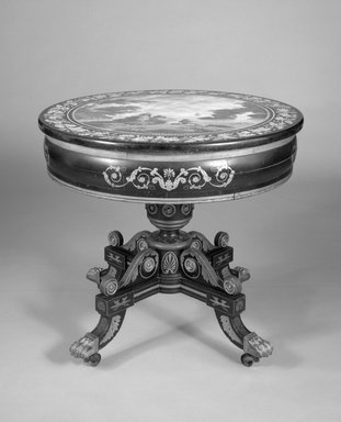 Table legs attributed to John Finlay. Center Table, ca. 1825. Wood, brass, gilt, plaster (scagliola), 30 3/8 x 33 x 33 in. (77.2 x 83.8 x 83.8 cm). Brooklyn Museum, Purchased with funds given by an anonymous donor, gift of the American Art Council and Designated Purchase Fund, 88.24. Creative Commons-BY