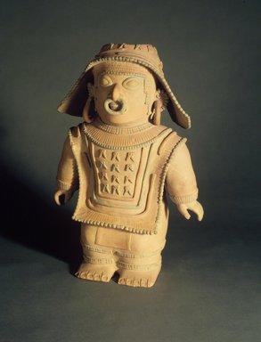 Jama Coaque. Standing Figure, 1-600 C.E. Ceramic, pigment, 18 3/4 x 13 1/4 x 6 1/2 in. (47.6 x 33.7 x 16.5 cm). Brooklyn Museum, Gift of Mr. and Mrs. Tessim Zorach, 88.57.1. Creative Commons-BY