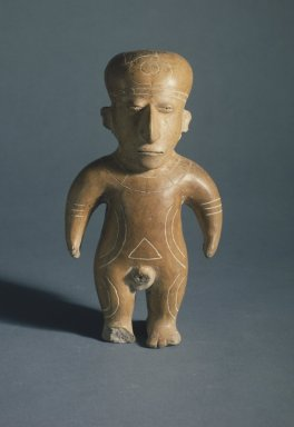 Mantena Phase. Figure, 600-1500 C.E. Ceramic, pigment, 11 x 6 x 4 1/4 in. (27.9 x 15.2 x 10.8 cm). Brooklyn Museum, Gift of Mr. and Mrs. Tessim Zorach, 88.57.4. Creative Commons-BY