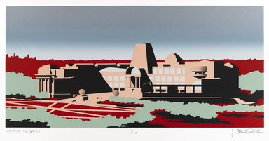 Isozaki Arata (Japanese, born 1931). The New Brooklyn Museum: South Elevation, 1988. Silkscreen in ten colors on Arches cover white, Sheet: 20 1/2 x 28 5/8 in. (52.1 x 72.7 cm). Brooklyn Museum, Gift of the Community Committee of the Brooklyn Museum, 88.76. © Arata Isozaki & Associates / James Stewart Polshek and Partners