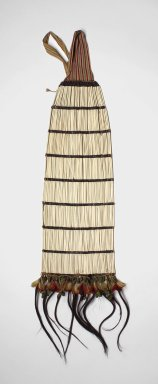 """Shuar. Back Ornament, first half of 20th century. Bird bones (""""tayu""""), seeds, feathers, cotton fiber, human hair, beetle-wing covers, 43 x 14 x 2 in. (109.2 x 35.6 x 5.1 cm). Brooklyn Museum, Anonymous gift, 88.89.11. Creative Commons-BY"""