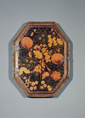 'Ali Ashraf (Iranian). Mirror Case, AH 1165 / 1751 CE. Ink, opaque watercolor, and gold on papier mâché under a lacquered varnish; silvered glass, 5 3/4 x 7 1/2 in. (14.6 x 19.1 cm). Brooklyn Museum, Gift of Mrs. Charles K. Wilkinson in memory of her husband, 88.92. Creative Commons-BY
