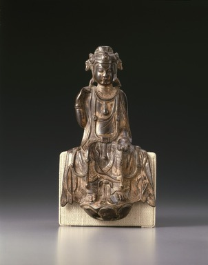 Seated Bodhisattva Maitreya, 557-581. Bronze with traces of gilding, 9 3/4 x 5 1/2 x 2 1/4 in. (24.8 x 14 x 5.7 cm). Brooklyn Museum, Gift of the Asian Art Council, 88.93. Creative Commons-BY