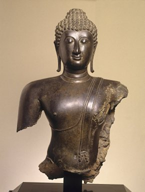 Head and Torso of a Buddha, 14th century. Bronze, 38 x 22 1/2 x 11 in., 189 lb. (96.5 x 57.2 x 27.9 cm, 85.73kg). Brooklyn Museum, Purchased with funds given by the Charles Bloom Foundation, Inc., in memory of Mildred and Charles Bloom, 88.94. Creative Commons-BY