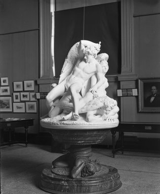 Salvatore Albano (Italian, 1841-1893). The Fallen Angels, or The Rebel Angels, 1893 (marble); 1883 (base). Marble, dark stone, bronze, base (Base from floor to top of upper plate): 40 x 57 1/2 x 57 1/2 in. (101.6 x 146.1 x 146.1 cm). Brooklyn Museum, Gift of A. Augustus Healy, 97.35. Creative Commons-BY