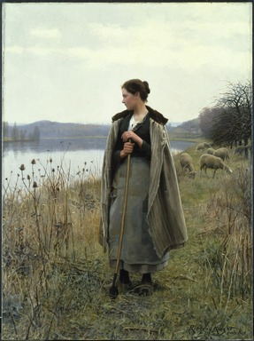 Daniel Ridgway Knight (American, 1839-1924). The Shepherdess of Rolleboise, 1896. Oil on canvas, 68 x 50 1/2 in. (172.7 x 128.2 cm). Brooklyn Museum, Gift of Abraham Abraham, 98.14