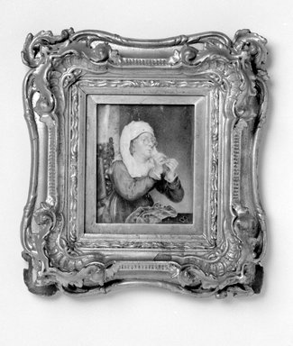 Unknown. Portrait of Woman Threading a Needle, mid-19th century. Watercolor on ivory portrait in gilt wood frame, Image (sight): 4 5/16 x 3 1/2 in. (11 x 8.9 cm). Brooklyn Museum, Gift of James A. H. Bell, 98.6