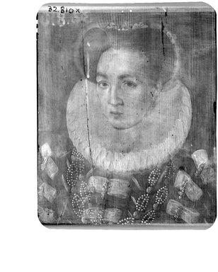 François Clouet (French, ca. 1516-1572). Portrait of Lady in Red Dress, Wearing Hat with White Feather, ca. 1580-1600. Tempera on panel, 8 x 6 1/2 in.  (20.3 x 16.5 cm). Brooklyn Museum, Gift of the executors of the Estate of Colonel Michael Friedsam, 32.810