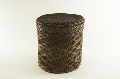 Kongo. Large Round Basket with Cover, late 19th century. Vegetable fiber, wood, 9 3/4 in. (24.8 cm). Brooklyn Museum, Brooklyn Museum Collection, 00.74a-b. Creative Commons-BY