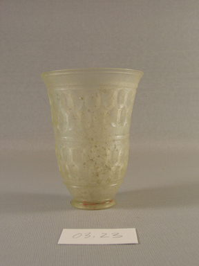 Roman. Goblet. Glass, 3 9/16 x Diam .2 11/16 in. (9 x 6.9 cm). Brooklyn Museum, Gift of Robert B. Woodward, 03.23. Creative Commons-BY