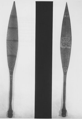 Maori. Paddle  (Hoe), ca. 1900. Wood, paua shell, 70 x 7 x 2 3/4 in.  (177.8 x 17.8 x 7.0 cm). Brooklyn Museum, Purchased with funds given by A. Augustus Healy, Carll de Silver and Robert B. Woodward, 03.324.2793. Creative Commons-BY