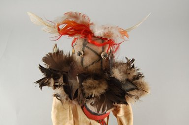 She-we-na (Zuni Pueblo) (Native American). Kachina Doll (Ololoska), late 19th century. Wood, feathers, paint, shell, yarn, leather, textile, 16 x 8 1/2 x 6 1/4 in. (40.6 x 21.6 x 15.9 cm). Brooklyn Museum, Museum Expedition 1903, Museum Collection Fund, 03.325.4619. Creative Commons-BY