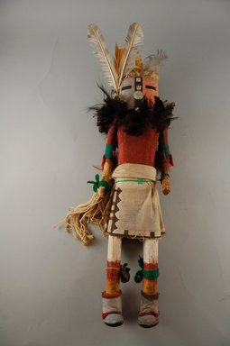 She-we-na (Zuni Pueblo) (Native American). Kachina Doll (Etetse Pona), late 19th century. Cotton, hide, metal, wood, cloth, hide, yarn, string, feathers, nails, 15 3/4 [without feathers-15 5/6] x 4 1/8 x 4 1/2 in.  (40 [without feathers-38.9 cm] x 10.5 x 11.4 cm). Brooklyn Museum, Museum Expedition 1903, Museum Collection Fund, 03.325.4625. Creative Commons-BY