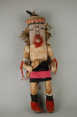 She-we-na (Zuni Pueblo) (Native American). Kachina Doll (Powotampla?), late 19th century. Hide, hair, metal, wood, cloth, feathers, pigment, nails, cotton, (13.2 x 8.4 x 35.5 cm). Brooklyn Museum, Museum Expedition 1903, Museum Collection Fund, 03.325.4628. Creative Commons-BY