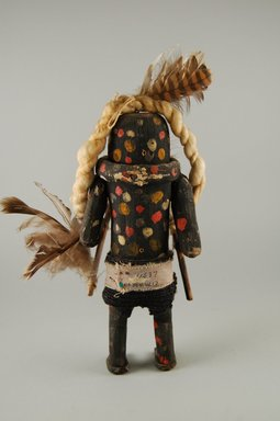 She-we-na (Zuni Pueblo) (Native American). Kachina Doll (Schutawetsa Kweha), late 19th century. Wood, pigment, fabric, feather, yarn, 9 x 1 1/16 in. (22.9 x 2.8 cm). Brooklyn Museum, Museum Expedition 1903, Museum Collection Fund, 03.325.4637. Creative Commons-BY