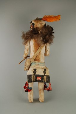 She-we-na (Zuni Pueblo) (Native American). Kachina Doll (Salamopea Kohana), late 19th century. Wood, pigment, fide, feathers, wool yarn, cotton cord, plant fiber, 16 x 4 1/2 x 4 1/2 in. (40.6 x 11.4 x 11.4 cm). Brooklyn Museum, Museum Expedition 1903, Museum Collection Fund, 03.325.4656. Creative Commons-BY