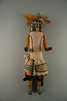 Mau-i (She-we-na (Zuni Pueblo), Native American). Kachina Doll (Panek Pinto), late 19th-early 20th century. Wood, pigment, feathers, yarn, cotton, 13 3/8 x 4 11/16 x 3 1/16in. (34 x 11.9 x 7.8cm). Brooklyn Museum, Museum Expedition 1904, Museum Collection Fund, 04.297.5348. Creative Commons-BY