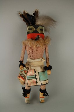 Mau-i (She-we-na (Zuni Pueblo), Native American). Kachina Doll (Lakiakwe), late 19th - early 20th century. Wood, pigment, cotton, fur, feathers, 13 1/4 x 5 1/4 x 3 3/4 in. (33.7 x 13.3 x 9.5 cm). Brooklyn Museum, Museum Expedition 1904, Museum Collection Fund, 04.297.5367. Creative Commons-BY