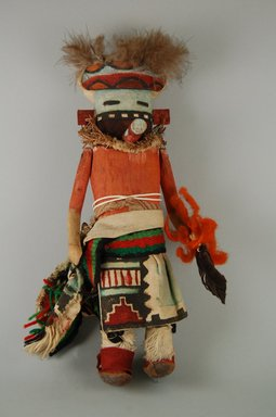 Mau-i (She-we-na (Zuni Pueblo), Native American). Kachina Doll (Ekohkuanona), late 19th - early 20th century. Wood, feather, hide, wool, string,  cotton, pine twigs, 11 7/16 x 4 15/16 x 3 7/8in. (29 x 12.6 x 9.8cm). Brooklyn Museum, Museum Expedition 1904, Museum Collection Fund, 04.297.5378. Creative Commons-BY