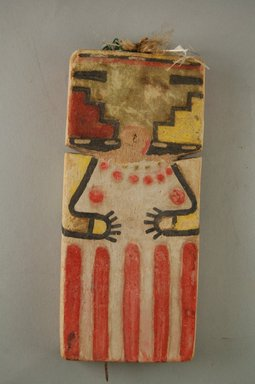 Hopi Pueblo (Native American). Kachina Doll, late 19th century. Wood, pigment, string, feather, iron nail, 3 x 11/16 x 2 7/8in. (7.6 x 1.8 x 7.3cm). Brooklyn Museum, Museum Expedition 1904, Museum Collection Fund, 04.297.5549. Creative Commons-BY
