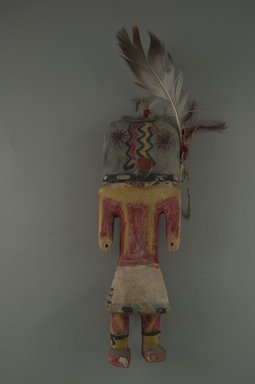 Hopi Pueblo (Native American). Kachina Doll (Hoho?), late 19th century. Wood, feathers, wool, string, pigment, without feathers: (7.4 x 5.8 x 21.7 cm). Brooklyn Museum, Museum Expedition 1904, Museum Collection Fund, 04.297.5561. Creative Commons-BY