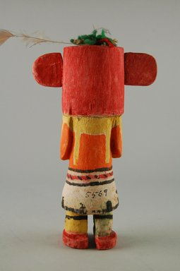 Hopi Pueblo (Native American). Kachina Doll (Sikahchantaka), late 19th century. Wood, pigment, string, yarn, feather, 4 5/8 x 2 9/16 x 7 7/16in. (11.7 x 6.5 x 18.9cm). Brooklyn Museum, Museum Expedition 1904, Museum Collection Fund, 04.297.5569. Creative Commons-BY
