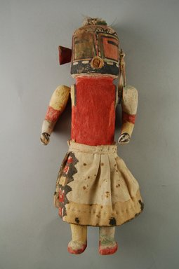 Hopi Pueblo (Native American). Kachina Doll (Maalo), late 19th century. Wood, pigment, cloth, string, feather shaft, 2 15/16 x 1 7/8 x 10 3/4in. (7.4 x 4.8 x 27.3cm). Brooklyn Museum, Museum Expedition 1904, Museum Collection Fund, 04.297.5588. Creative Commons-BY