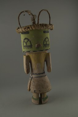 Hopi Pueblo (Native American). Kachina Doll, late 19th century. Wood, pigment, fibers, cotton, string, 4 7/16 x 3 3/4 x 11 11/16in. (11.2 x 9.5 x 29.7cm). Brooklyn Museum, Museum Expedition 1904, Museum Collection Fund, 04.297.5589. Creative Commons-BY